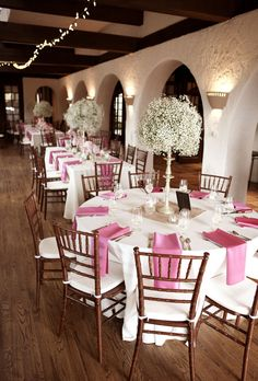 Baby's Breath Centerpieces on Candlestands