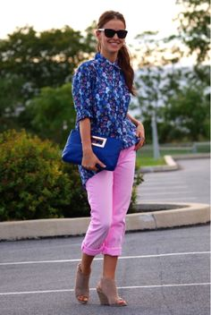 Bittersweet Colours: pink jeans and blue floral