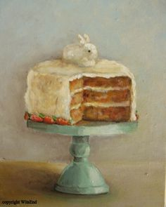 Sugar Bunny Carrot Cake, original painting by me.  SOLD