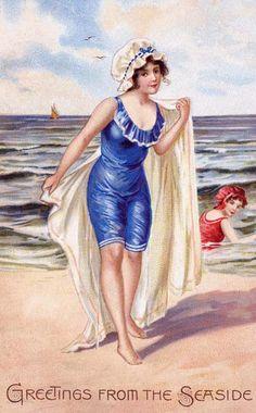 Bathing beauty vintage postcard