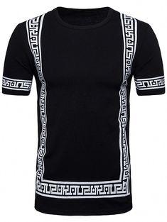 Short Sleeve Geometric Print Hip Hop T-shirt Stylish Mens Fashion, Latest Mens Fashion, Men's Fashion, Fashion Rings, Fashion Ideas, Hip Hop Dance Outfits, Cheap T Shirts, Mens Tops, Prints