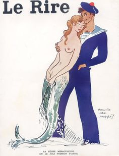 "sailorgil: "" This Mermaid Loves Her Sailor ""  … Illustration [1952] by Maurice Van Moppes"