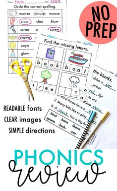 100 Pages of NO PREP phonics review-- includes everything from CVC words to silent letters! Simple directions, readable fonts, and clear images mean that students can complete these pages INDEPENDENTLY as you get those EOY tasks done! {from The Designer Teacher} Cvce Words, Phonics Words, Phonics Worksheets, Phonics Activities, School Worksheets, Teaching Letters, Teaching Kids, Reading Mastery, Alphabet Phonics