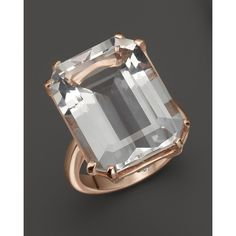 Lisa Nik 18K Rose Gold Octagon Quartz Ring with Diamonds (18 195 ZAR) ❤ liked on Polyvore featuring jewelry, rings, rose gold diamond ring, 18k rose gold ring, quartz diamond ring, rose gold jewelry and quartz jewelry