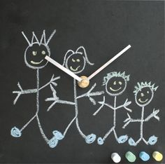 Toddler Clock Eco Friendly [TCH] - The eco toddler clock is the perfect accessory to engage your child with telling the time. The clock has been designed to enable children to draw on the clock fascia with provided, multi-coloured chalk, thereby getting them interested in the clock itself. It's a sneaky and perfect way of getting young Toddler Clock, Colored Chalk, Telling Time, Clocks, Coffee Cups, Eco Friendly, Recycling, Children, Drawings