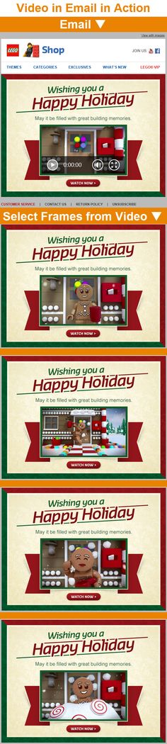 """Lego Shop >> sent 12/25/14 >> Happy Holidays from the Official LEGO® Shop! >> Lego delivers a special season's greeting experience with this 15-second video that's playable within many email clients. The video, which is powered by LiveClicker, is about a snowball-dodging gingerbread man and likely saw strong engagement, especially in the wake of highly successful """"The Lego Movie."""" —Chad White, Lead Research Analyst, Salesforce Marketing Cloud"""