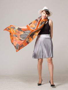 Hand painted silk scarf Crimson flowers.Silk scarf handpainted. Painted scarf, shawl. Bright summer scarf, shawl. Watercolor scarf in orange