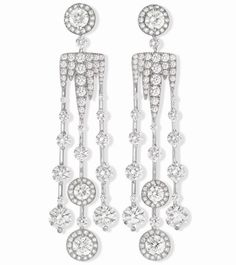Earrings in platinum and white gold, set with brilliant cut diamonds (Set 7)