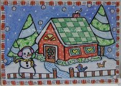 ACEO Original Art Joy Christmas Quilt Home Tree Snowman Bluebird Cat Kitten Snow #Myown
