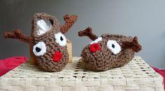 crochet slippers toddler slippers reindeer by LittleMommaBoutique, $10.00