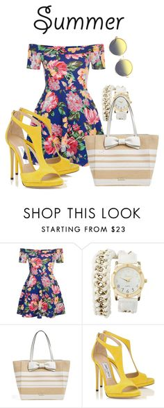 """""""Untitled #104"""" by ebbieleanne ❤ liked on Polyvore featuring New Look, Charlotte Russe, Kate Spade, Matthew Williamson and strawbags"""