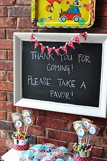 I think it would be cool to take old frames and make them chalk boards like this for food or other thinks for a graduation party.