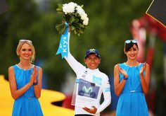 Nairo Quintana of Colombia and Movistar Team celebrates after winning the white jersey for the best young rider - 2015 Tour de France