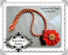 BR 099  Vermillion Red Poppy Necklace  Brick Stitch by TrinityDJ, $89.00
