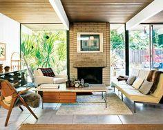 Midcentury stylish living room