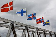 Scandinavian flags. Danmark, Finland*, Ísland, Norge, Sverige. (Does Finland have a Finnish name? I knew Norge and Sverige, and was able to find Danmark and Ísland, but for Finland I can't find a definitive answer on whether it's called the Republic of Finland or Suomi)