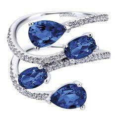 14k White Gold Diamond  And Sapphire Fashion Ladies' Ring   Gabriel & Co NY   LR50629W45SB