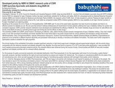 Developed jointly by NBRI & CIMAP Research unit of CSIR launches scientific validated Ayurvedic anti-diabetic medicine BGR-34 in Punjab