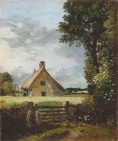 'A Cottage in a cornfield' by John Constable. Amguddfa Cymru - National Museum Wales, Cardiff, purchased with the assistance of the National Art Collections Fund in 1978 As a boy Constable often passed by this cottage, at the end of Fen Lane, when he walked down the lane on his way to school at Dedham.  The cottage belonged to Peter Godfrey of Old Hall, East Bergholt,  and one of his workmen probably lived in it. It had been demolished  by 1885 (St John 2002, p. 29)