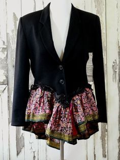 Upcycled jacket. This would be great to use with an old silk skirt.