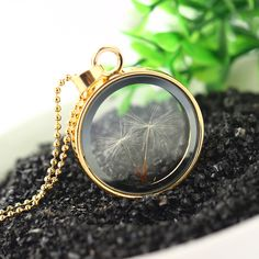 Vintage Jewelry Gold Color with Glass Round Shaped Dried Flower Dandelion Choker Long Pendant Necklace for Women Party Long Pendant Necklace, Pendant Jewelry, Gold Jewelry, Vintage Jewelry, Fine Jewelry, Trendy Jewelry, Jewelry Trends, Jewelry Accessories, Fashion Jewelry