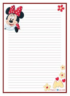 Stationery paper - Free printable stationery - Printable stationery - Letter paper - Stationery - Diy and crafts interests Printable Lined Paper, Free Printable Stationery, Diy Stationery Paper, Borders For Paper, Mickey And Friends, Disney Scrapbook, Note Paper, Paper Decorations, Journal Cards