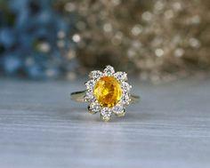 Yellow Sapphire and Diamond Engagement Ring   Prong Setting    Solid 14K Gold   Cocktail Ring   Fine Jewelry   Free Shipping