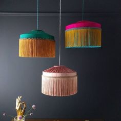 Just working on some more lampshades to add to the new T I F F A N Y range. Lots… Just working on some more lampshades to add to the new T I F F A N Y range. Lots of scallops, fringe and a touch of dip dying. Ceiling Lamp Shades, Chandelier Shades, Vintage Lamps, Vintage Lighting, Lamp Shade Frame, I Love Lamp, Deco Boheme, Dark Interiors, Decoration Home