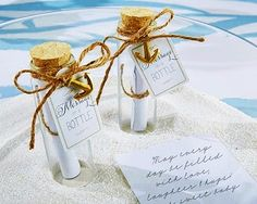 """Message In A Bottle"" Glass Favor Bottle (Set Of at Elegant Gift Gallery. We're your number one source for beach wedding favors and bridal shower favors. Kate Aspen favors at discount prices! Beach Wedding Favors, Wedding Favors Cheap, Nautical Wedding, Bridal Shower Favors, Summer Wedding, Dream Wedding, Coastal Wedding Ideas, Diy Wedding, Pirate Wedding"