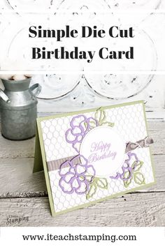 With just a few supplies, you can make this stunning yet simple birthday card using die cuts. Try it today! Click through for details. Simple Birthday Cards, Happy Birthday, Free Paper, Diy Craft Projects, Greeting Cards Handmade, Some Fun, Cardmaking, Stamping, Easy Cards