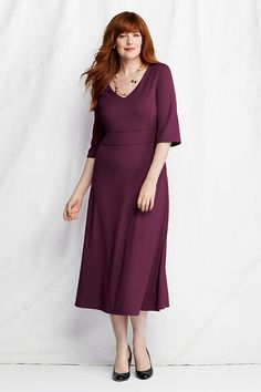 Women's Plus Size Elbow Length Bell Sleeve Drapey Ponté V-neck Dress from Lands' End