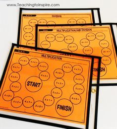FREE math partner games for multiplication and division facts. These partner games are super low-prep and engaging. They work great for math centers, math partner games, and even early finishers. Maths 3e, Multiplication And Division, Teaching Multiplication, Math Fractions, Multiplication Strategies, Teaching Math, Division Math Games, Fourth Grade Math, Third Grade Math Games