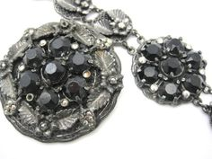 Vintage Jewelry Set - Brooch and Bracelet - French Jet Black Rhinestones and Pot Metal