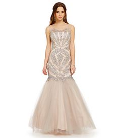 Glamour by Terani Couture Illusion Beaded Trumpet Gown | Dillard's Mobile