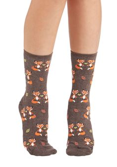 Cute Hearts Beat as One Socks - Brown, Multi, Print with Animals, Boho, Darling, Critters, Fall, Winter, Knit, Casual
