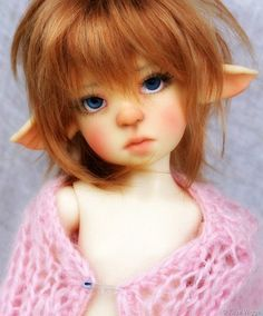 BJD with elf ears.  I think this is Cinnamon from Kaye Wiggs - such a cutie!