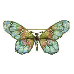 Plique-à-jour Enamel Butterfly Brooch | From a unique collection of vintage brooches at https://www.1stdibs.com/jewelry/brooches/brooches/