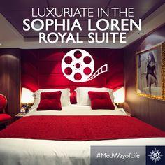 Une fois à bord de nos suites, vous n'aurez plus envie de quitter votre chambre. #MSCDivina Sophia Loren, Destinations, Excursion, Quitter, Bed, Furniture, Home Decor, Glamour, The World