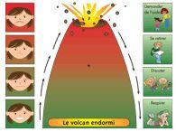 volcan endormi (colère) Découpez les 2 flèches et fixez-les aux endroits prévus avec une attache parisienne afin que les enfants puissent les tourner au besoin. Lorsqu'un enfant est en colère, l'éducatrice pourra l'amener voir le volcan endormi pour l'aider à comprendre sa colère. À l'aide de la flèche l'enfant pourra visuellement démontrer et mieux comprendre le degré de sa colère.