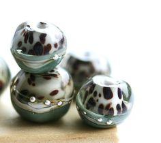 Grey lampwork glass beads organics  SRA  dots gray by MayaHoney, $19.00