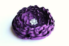 Purple Flower Brooch/ Hair Clip/ Handmade Accessory/ Free Shipping on Additional Items. $14.00, via Etsy.