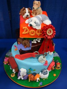 Dog Lover # layers turvycake with diferent kinds of dogs made with ricekrispies treats ,fondant and gumpaste Fondant Dog, Fondant Animals, Dog Cakes, Cupcake Cakes, Cupcakes, Dachshund Cake, Animal Cakes, Puppy Party, Just Cakes