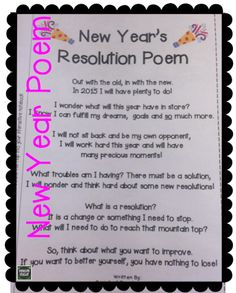new year s resolution poem this was my fluency poem for  great poem for introducing the concept of resolutions good for goal setting