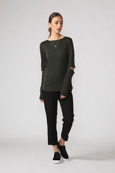 crew subtle top / artillery by Moochi. Everyday luxury, from off-duty essentials to coveted designer pieces. Buy Now! Roll Neck, Polished Look, Off Duty, Work Wear, Buy Now, Aw 2017, Normcore, Skinny, Denim