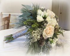 Winter Wedding | Sweet Williams Floral. Bridal Bouquet, white, frosted, grey, aqua, snowflake wedding colors