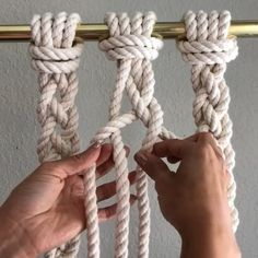 How to Tie a 4 Cord Braid // This video shows how to tie 4 cord braids. They're great to add texture at the end of a wall hanging, or used for Plant Hangers, and they're easy to do. I made them with 8 foot cords of inch 3 strand cotton rope from knot How To Braid Rope, Clove Hitch Knot, Macrame Cord, Diy Macrame, Rope Crafts, Macrame Plant Hangers, Macrame Design, Macrame Projects, Macrame Tutorial