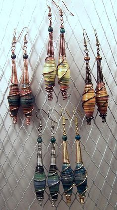 african paper bead earrings - Google Search