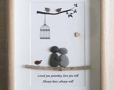 Pebble Art framed Picture- Couple - Love