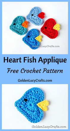 Crochet For Babies Crochet Fish Applique, Heart Fish, heart shaped applique, Crochet Applique Patterns Free, Crochet Motif, Crochet Appliques, Crochet Flowers, Crochet Hearts, Crochet Designs, Crochet Ideas, Free Pattern, Crochet Gratis