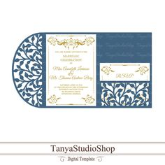 Wedding invitation template - SVG, DXF, ai, CRD, eps - Laser Paper Cut - Silhouette Cameo- Cricut - Instant Download 203